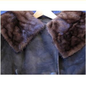 Mr. Sid's Jackets & Coats - Mr. Sid's Vintage Leather Mink Collar Coat